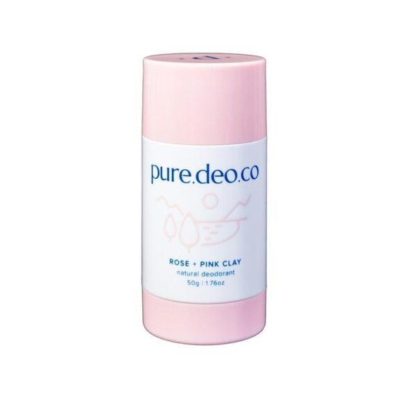 PURE DEO CO Дезодорант-стик без солей алюминия с розой и розовой глиной