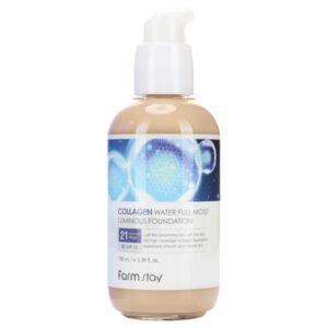 Коллагеновый тональный крем с эффектом сияния FarmStay Collagen Water Full Moist Luminous Foundation #21
