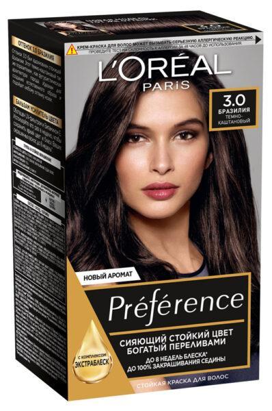 Краска для волос L'Oreal Paris Preference темно каштановый тон 3