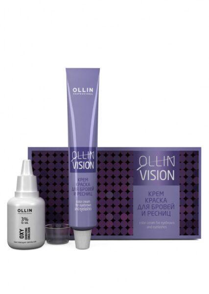 OLLIN PROFESSIONAL Крем-Краска Vision Eyebrows Color Cream для Бровей и Ресниц Черный в Наборе