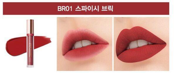 Помада для губ жидкая матовая The Saem Matte Stay Lacquer BR01 Spicy Brick