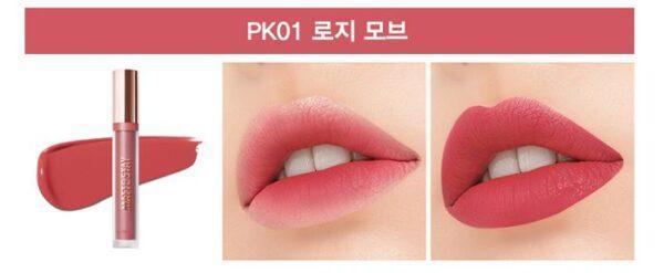 Помада для губ жидкая матовая The Saem Matte Stay Lacquer PK01 Rosy Mauve