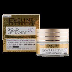 Крем-сыворотка для лица EVELINE GOLD LIFT EXPERT дневной и ночной 50+ 50 мл